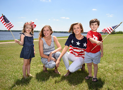 Red, white and blue fashions at Old Trace Park in Ridgeland for Magnolia magaine.
