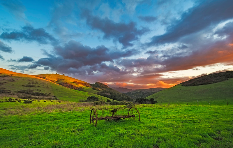Old Stage Road to Salinas-Hay Rake-Sunset-12mm