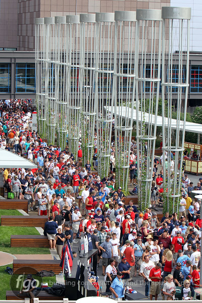 Fans lined up for the Hrbek bobblehead giveaway at Target Field before the Twins - White Sox game.