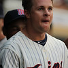 Minnesota Twins third baseman Matt Tolbert back in the dugout after an at bat in the baseball game between the Chicago White Sox and the Minnesota Twins at Target Field. The White Sox won the game 5-3.