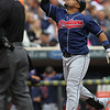 Cleveland Indians catcher Carlos Santana (41) celebrates his two-run home run in the top of the second inning of a baseball game between the Cleveland Indians versus Minnesota Twins at Target Field in Minneapolis, MN. The Indians led 8-0 after two innings and went on to win 10-4.