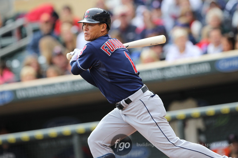 Cleveland Indians right fielder Kosuke Fukudome (1) at bat in the top of the third inning of a baseball game between the Cleveland Indians versus Minnesota Twins at Target Field in Minneapolis, MN. The Indians led 8-0 after three innings and went on to win 10-4.