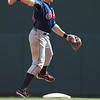 Cleveland Indians shortstop Asdrubal Cabrera (13) turns putout in the bottom of the fifth inning of a baseball game between the Cleveland Indians versus Minnesota Twins at Target Field in Minneapolis, MN. The Indians led 8-2 after the five innings and went on to win 10-4.