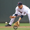 Minnesota Twins shortstop Matt Tolbert (2) fields a grounder in the top of the fourth inning against the Detroit Tigers. The score was tied after four innings and the Tigers went on to win 9-7.