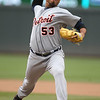 Detroit Tigers pitcher Joaquin Benoit (53) entered the game in the seventh inning and was awarded the winning pitcher in the game against the Minnesota Twins. The Tigers went on to win 9-7.