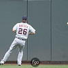 Detroit Tigers right fielder Brennan Boesch (26) watches an RBI double by Minnesota Twins Luke Hughes as it leaves a dent in the wall in the bottom of the seventh.