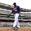 Minnesota Twins pitcher Francisco Liriano (47) steps off the field after seeing the Royals score six runs in the fourth inning in the baseball game between the Minnesota Twins and the Kansas City Royals in Minneapolis, MN.  Kansas City won 10-5.