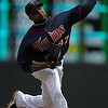 Minnesota Twins pitcher Francisco Liriano (47) remained on the mound through five innings registering 8 hits and 7 runs in the baseball game between the Minnesota Twins and the Kansas City Royals in Minneapolis, MN.  Kansas City won 10-5.