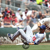 Minnesota Twins catcher Joe Mauer (7) is put out on a fielder's choice in the baseball game between the Los Angeles Dodgers versus Minnesota Twins baseball game at Target Field in Minneapolis, MN. The Twins won 1-0.