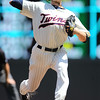 Minnesota Twins starting pitcher Scott Baker (30) struck out 9 batters in his 7-1/3 innings win at the Los Angeles Dodgers versus Minnesota Twins baseball game at Target Field in Minneapolis, MN. The Twins won 1-0.