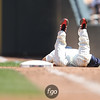 Minnesota Twins shortstopTsuyoshi Nichioka (1) falls short of being putout at first in the baseball game between the Los Angeles Dodgers versus Minnesota Twins at Target Field in Minneapolis, MN. The Twins won 1-0.