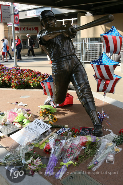 Fans gathered around the statute of Harmon Killebrew prior to the Seattle Mariners versus Minnesota Twins baseball game at Target Field in Minneapolis, MN. The team hosted a pre-game tribute to the former Minnesota Twins hero.