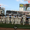 With a video of former Minnesota Twin Harmon Killebrew (3) behind them, the Minnesota Twins walked off the field in a pre-game tribute at the Seattle Mariners versus Minnesota Twins baseball game at Target Field in Minneapolis, MN.