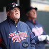 Minnesota Twins manager Ron Gardenhire (35) eyes a fly hit against his pitcher after seven runs in the top of the fourth inning of the baseball game between the Minnesota Twins and the Tampa Bay Rays in Minneapolis, MN.  Tampa Bay won 15-3.