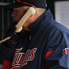 Minnesota Twins manager Ron Gardenhire (35) has seen enough and makes the call to the bullpen after seeing his give up seven runs in the top of the fourth inning of the baseball game between the Minnesota Twins and the Tampa Bay Rays in Minneapolis, MN.  Tampa Bay won 15-3.