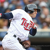 Minnesota Twins left fielder Rene Tosoni (23) watches his first major league hit in the third inning in the baseball game between the Minnesota Twins and the Tampa Bay Rays in Minneapolis, MN.  Tampa Bay won 15-3.