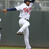 Minnesota Twins shortstop Alexi Casilla (12) sees one go beyond his reach in the second inning in the baseball game between the Minnesota Twins and the Tampa Bay Rays in Minneapolis, MN.  Tampa Bay won 15-3.