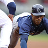 Tampa Bay Rays center fielder B.J. Upton (2) returns to first base in the first inning in the baseball game between the Minnesota Twins and the Tampa Bay Rays in Minneapolis, MN.  Tampa Bay won 15-3.