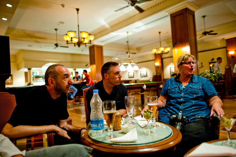 Luxury retreat: Intense discussions at the bar of the Oberoi Grand Hotel.