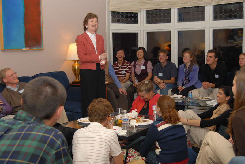Montgomery Fellow Mary Robinson visits students at East Wheelock Residential Cluster, Dartmouth College
