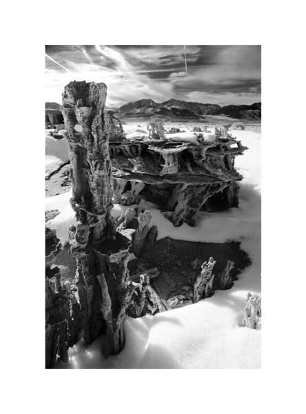 Into the Sun - Mono Lake Sand Tufa in winter. View of Eastern Sierras