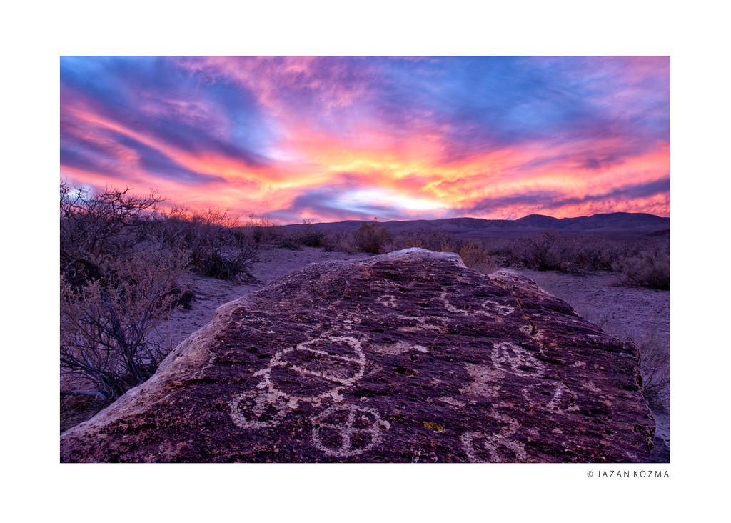 Chalfant Petroglyphs at Sunset