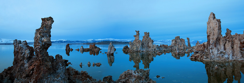 Even Tufa Get the Blues - Mono Lake. Looking North East at sunset in winter.