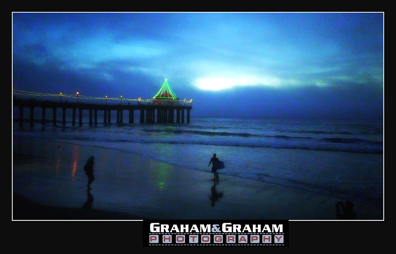 Manhattan Beach Pier Lit up for Christmas