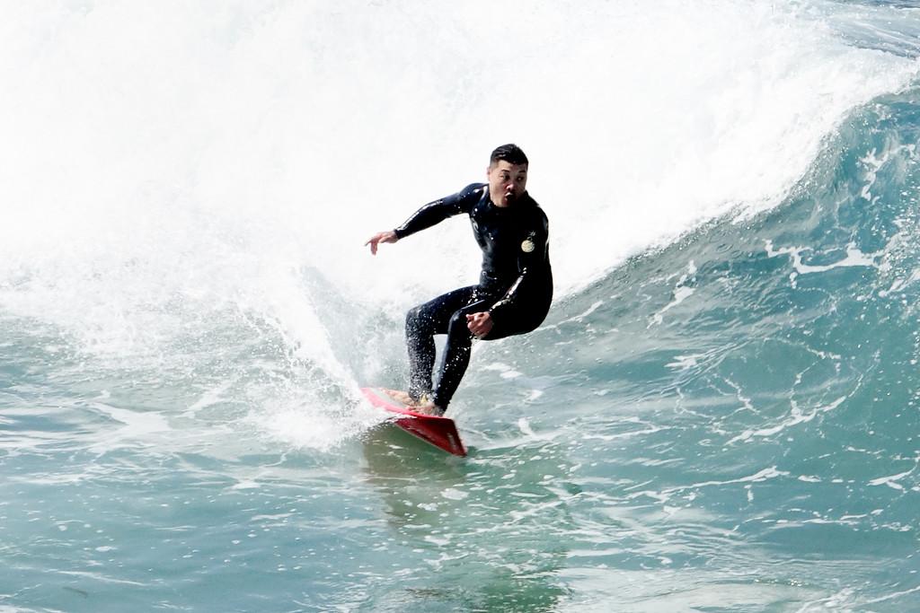 Surfing in Manhattan Beach