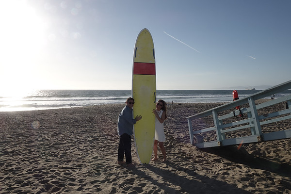 Surfboard fun by Manhattan Beach Lifeguard station
