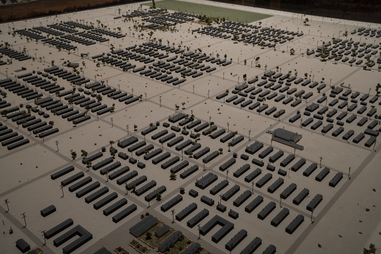 Each little rectangle is a barracks building at Manzanar
