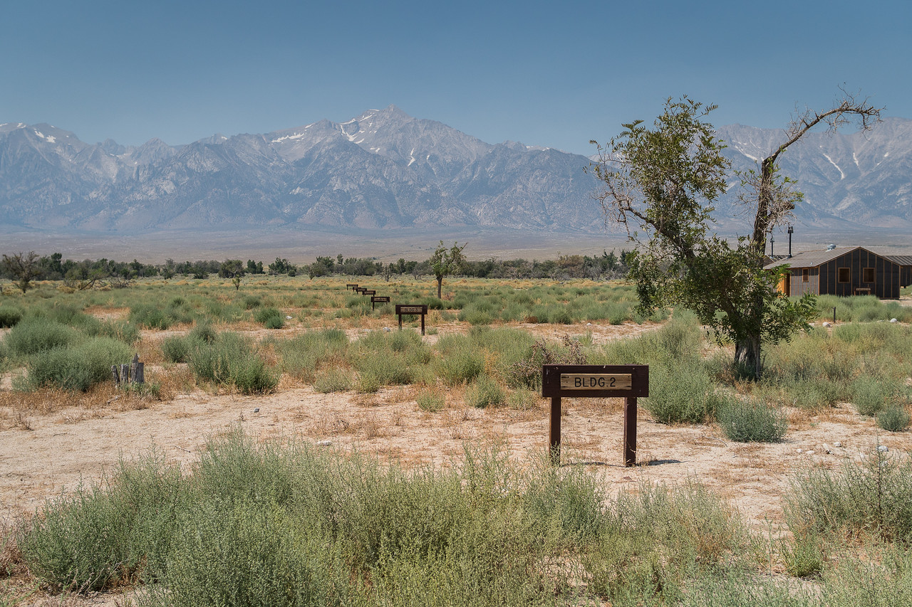 Signs mark the location of buildings at Manzanar