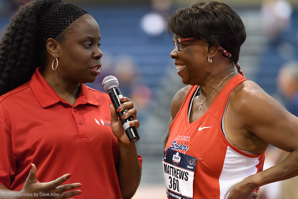 60 meter finals  Brenda Mathews interviewed after her victory