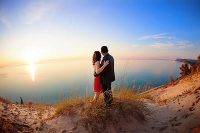 Lake Michigan Dune Engagement Photo   Rayan Anastor Photography   Traverse City Engagement Photographer