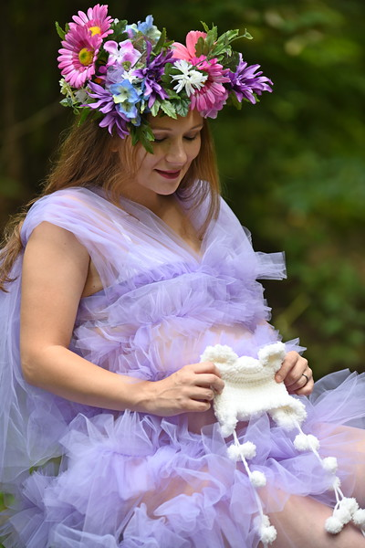 Expecting Mom in Lavender Maternity Gown