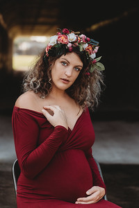 Maternity Session, Land O'Lakes, Merlot Gown, flower crown
