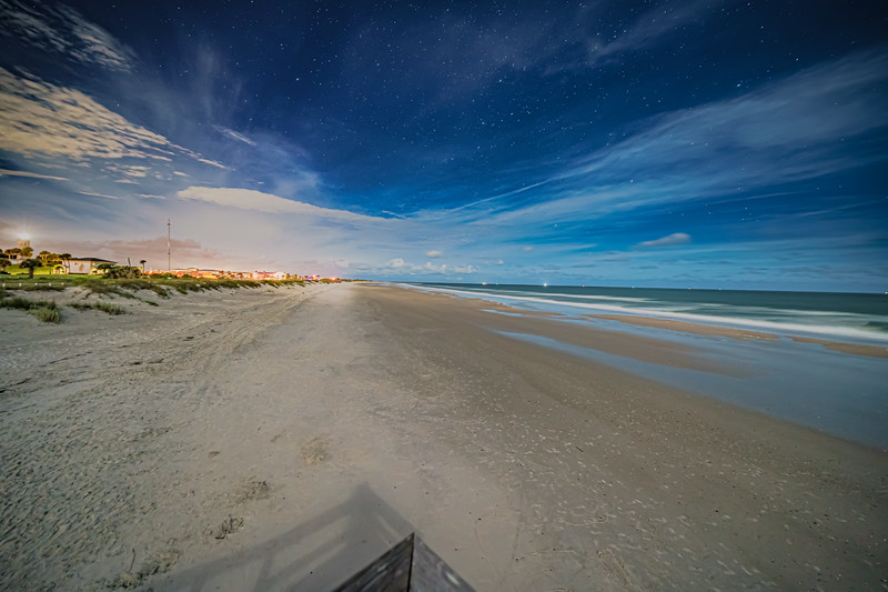 Moonscape with Stars over Beach with Wispy Clouds