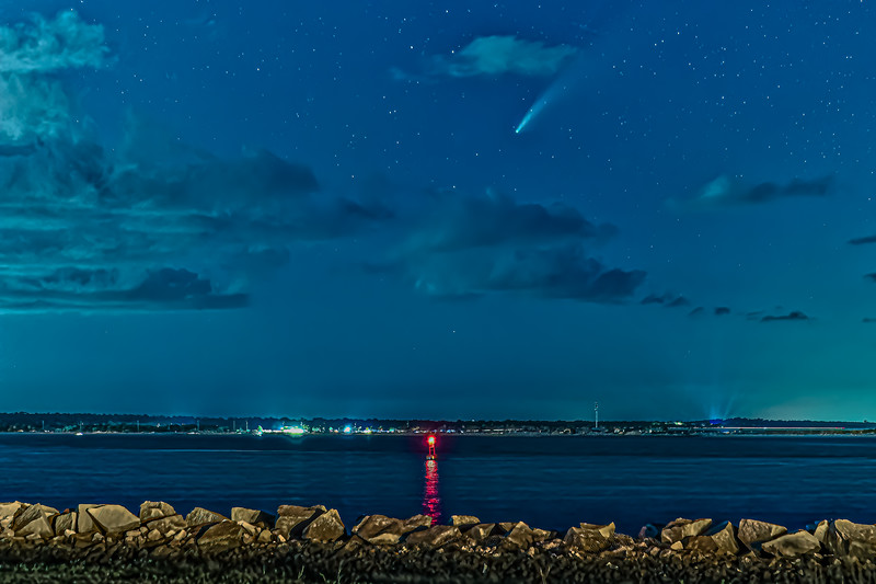Comet Neowise and Ice Trail over St. Johns River