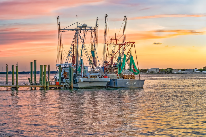 Two Shrimp Boats Tied Up