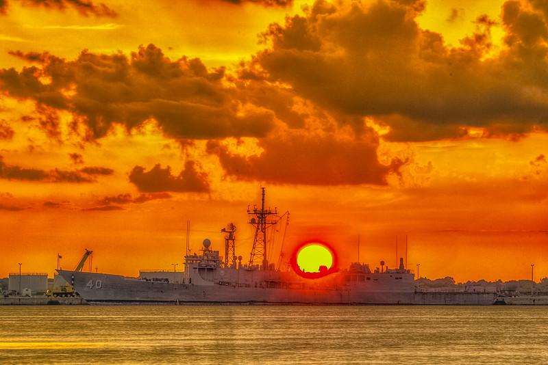 USS Halyburton FFG-40 Sunset