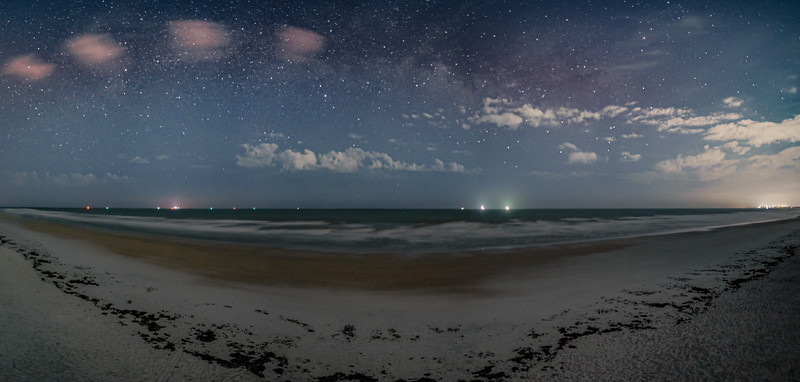 A view over the beach at night.