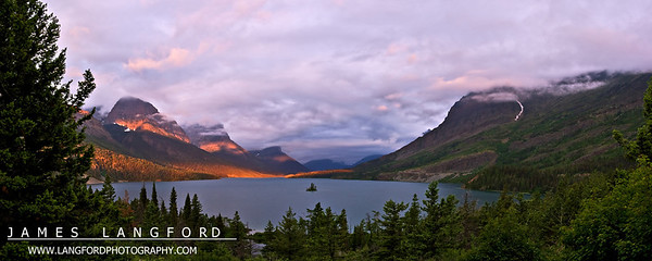 """""""Wild Goose Island""""  Glacier National Park, MT  Light can change quickly in Glacier Park.  On this morning, I was waiting with a group of about twenty other photographers to see if the sun would break through the clouds.  Shortly after the sun rose behind us, this amazing light exploded from the fog and lit up the scene.  It only lasted for a few short minutes before the fog closed back in. Want to buy a print of this image?  Click Here!"""