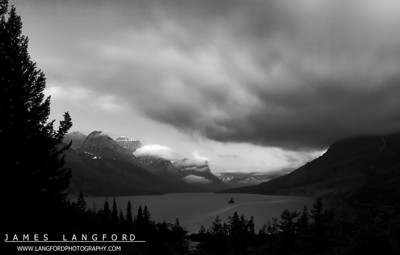 """""""Foggy Sunrise""""  Glacier National Park, MT  Light can change quickly in Glacier Park.  On this morning, I was waiting to see if the sun would break through the clouds.  I thought a black and white image really captured the moodiness of the scene. Want to buy a print of this image?  Click Here!"""