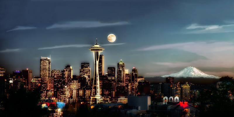 #CM559 Full Moon over Seattle