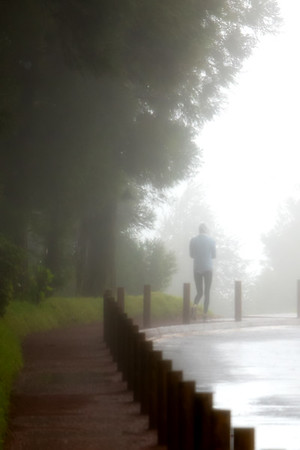jogger in the mist