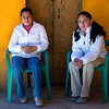 Young girls relaxing outside Santa Rosa pottery factory near Guanajuato
