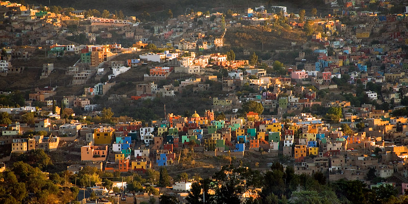 Colorful houses, sunrise, Guanajuato