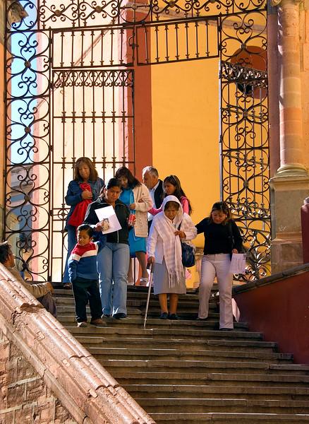 Family leaving Basilica de Nuestra Senora, Guanajuato