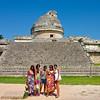 Tourists at the Observatory, Chichen Itza - Yucatan, Mexico