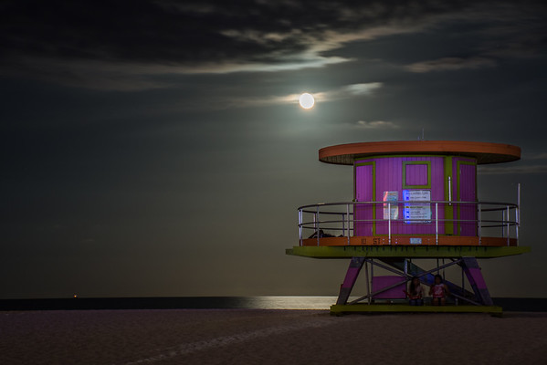 South Beach Miami Moonrise 2016